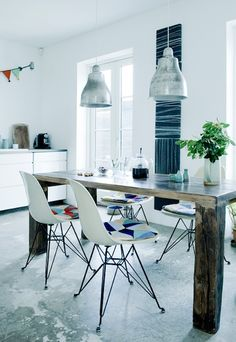 Dying over: concrete floors. rustic table with giant fat legs. colorful seat cushions. green. #scandinavian