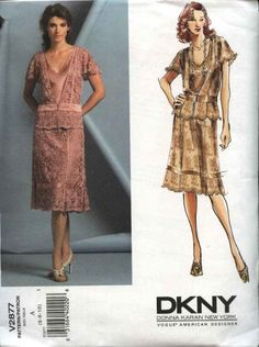 Vogue+Sewing+Pattern+2877+Misses+size+6-8-10+DKNY+Formal+Skirt+Top+Mother+of+the+Bride