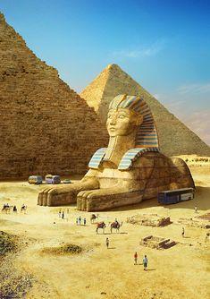ArtStation - The Great Sphinx of Giza, Evgeny Kazantsev Ancient Egypt History, Ancient Aliens, Ancient Egypt Pyramids, Giza Egypt, Ancient Greece, Gizeh, Old Egypt, Egyptian Art, Ancient Civilizations