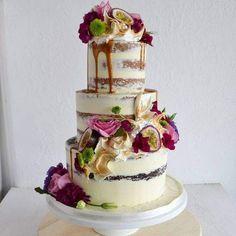 Semi-Nude Passionfruit & Caramel Wedding Cake