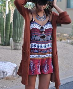Cute bohemian romper paired with a burnt orange maxi cardi. Pretty collar statement piece too. Amanda Shoemaker.