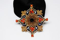 New Listings Daily - Follow Us for UpDates -  Description & Style:  Victorian Revival Brooch - Black Enamel - Orange Rhinestones - Gothic Flair - #Vintage Modern 1990's Goth Maltese Cross Pin offered by #TheJewelSeeker o... #vintage #jewelry #teamlove #etsyretwt #ecochic #thejewelseeker ➡️ http://etsy.me/2u3SuHZ