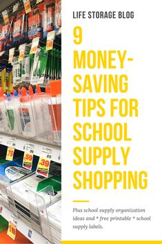 Creative solutions for how to organize school supplies at home and at school, including free printable school supply labels! Free School Supplies, School Supplies Organization, Back To School Hacks, Back To School Shopping, School Supply Labels, Survival, Money Saving Tips, Saving Ideas, Living At Home