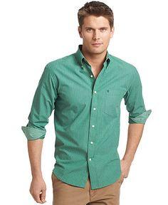 Izod Shirt, Essential Check Shirt - Casual Button-Down Shirts - Men - Macy's