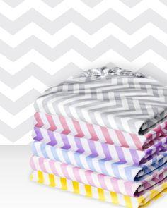 A modern chevron pattern creates a fun, graphic look in baby's nursery.