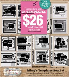 INSANE DEAL: Missy's Templates Sets 1-6 - LIMITED TIME ONLY at peppermintcreative.com