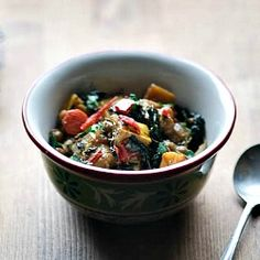 An exquisite vegan dish of chickpeas, delicata squash and kale stewed in gingery coconut milk.