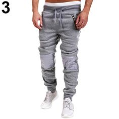 8359cc57b Men Casual Tracksuit Trousers Zipper Sweat Pants-in Sweatpants from Men s  Clothing   Accessories on Aliexpress.com
