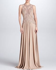 Beaded Cutout Gown, Bisque by Elie Saab  Awesome or blah?  Leaning towards awesome...lc