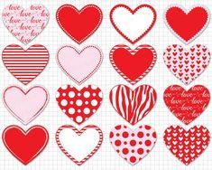 Heart Clipart: Digital Heart Clipart Valentine | Etsy Valentines Day Hearts, Valentine Heart, Valentine Crafts, Heart Graphics, Heart Clip Art, Blog Backgrounds, Heart Frame, Valentine Decorations, Clipart