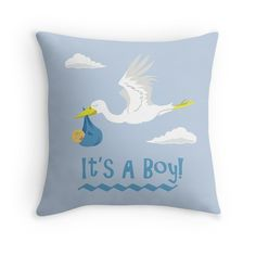 It's A Boy! Pillow #babies #kids #pregnant #expecting #babyshower
