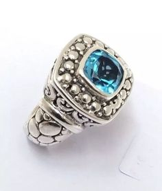 Sterling Silver Blue Topaz Filigree Ring Size 6.