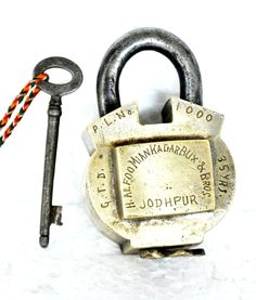 """JODHPUR ENGRAVED PADLOCK. Rare Collectors Item 1930s Old Brass Handcrafted Solid Heavy Unique Shape Padlock  Has Rich Patina!  Get it from our online store: www singhalexportsjodhpur com and search for """"30352"""" in the search box  Use code EARLYBRD5 to get amazing discounts.  LALJI HANDICRAFTS - WORLDWIDE SHIPPING - EXCLUSIVE HANDICRAFTS  INDIAN DECOR INDUSTRIAL DECOR VINTAGE DECOR POP ART MOVIE POSTERS VINTAGE MEMORABILIA FRENCH REPLICA    #padlock #padlocks #padlopadlock #lovepadlocks…"""