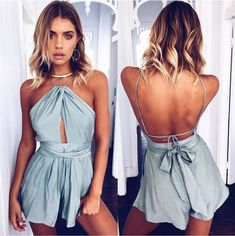 40502677a55 Casual Camis Playsuit Cut Out Sexy Bodysuit Women Shorts Boho Jumpsuit  vestido Sash Tie Summer Style Halter Beach Resort Romper