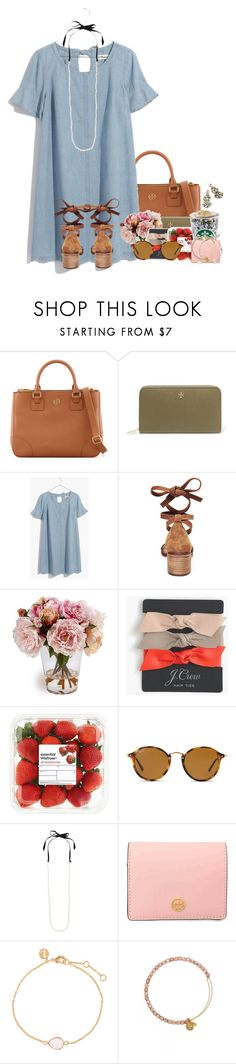 """""""Read the D"""" by flroasburn ❤ liked on Polyvore featuring Tory Burch, Madewell, Steve Madden, J.Crew, Ray-Ban, Accessorize, Kate Spade and Alex and Ani"""