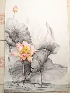 Abstract Flowers, Watercolor Flowers, Watercolor Paintings, Butterfly Art, Flower Art, Flower Line Drawings, Lotus Painting, Oriental Flowers, Lotus Art