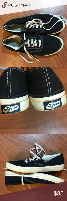 Sperry Topsider black canvas lace sneakers 9.5 Sperry Topsider black canvas lace up sneakers men's 9.5. Good used condition. Sperry Top-Sider Shoes Sneakers