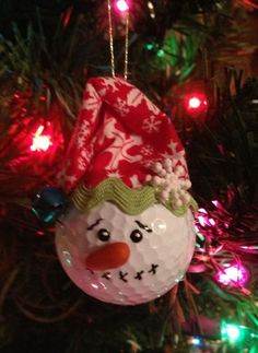 Golf Ball Snowman Christmas Ornament by therobinsegg on Etsy, $6.00