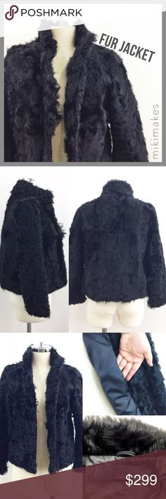 "ZARA • black lamb fur jacket high collar • gorgeous black fur jacket from Zara • in excellent condition; no stains or holes and just got back from the dry cleaners • single front pocket in interior lining • high collar to keep your neck warm • hook and eye front closures • fully lined • one of the last items that Zara made with real fur  100% lamb fur  ✂️  Bust = 39"" ✂️  Length = 20"" (top of shoulder to hem)  • sorry no trades • please feel free to ask any questions  ❤️ @mikimakes Zara…"