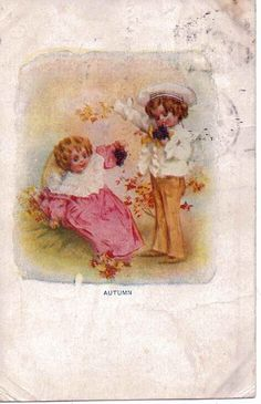 Autumn--Boy and girl with Fall leaves