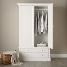 The White Company Classic Large Wooden Wardrobe White Bedroom Furniture RRP 899 UK Classic Bedroom Furniture, Wardrobe Furniture, Wardrobe Cabinets, Bedroom Wardrobe, White Furniture, Bedroom Classic, Furniture Ideas, Hanging Wardrobe, Furniture Online