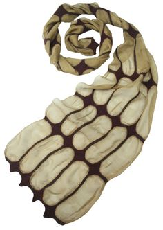 Silk scarves with wool patterns. Fine wool is used providing softness. Even small amount of wool is sufficient to warm its owner. 30% wool, 70% silk.