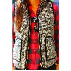 Trendy Herringbone Vest Trendy Herringbone Vest. Third pic shows material up close. Super comfy & versatile. Loose fit.                                                       [Trindy Clozet Boutique Policies]  ✅ Next Business Day Shipping (possibly same day) ✅ Retail prices are firm unless bundled.  ✅ No trades. Trindy Clozet Boutique Jackets & Coats Vests