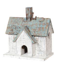 Shabby birdhouse with chimney.