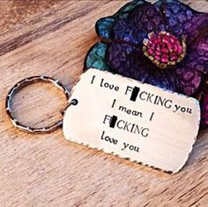 MATURE-Funny Husband Gift, Husband Gift, Boyfriend Gift, Gifts for Men, Valentine's Day Gift, F*ck Keychain, Adult Humor, hand Stamped Keych