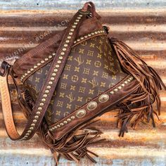 """The Luckenbach"" Repurposed LOUIS VUITTON Large Zipper Tote with Native Conchos and Fringe by Running Roan Tack"