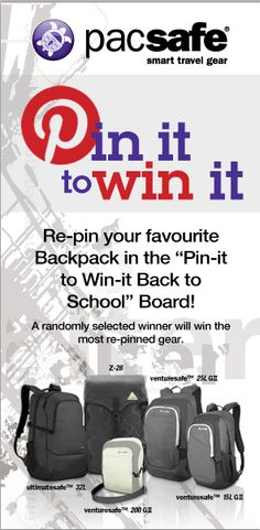 Re-pin your favourite back to school gear and automatically be entered to win the most pinned! One winner will be randomly selected!  - CONTEST CLOSED -