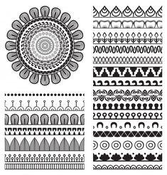 Mandala Ornament and Borders - Decorative Symbols Decorative Mandala Doodle, Mandala Art Lesson, Mandala Artwork, Mandala Symbols, Doodle Art Drawing, Zentangle Drawings, Mandala Drawing, Zentangles, Doodle Patterns