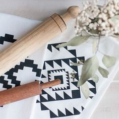 Kitchen towels with aztec pattern, black and white, vintage rolling pins, via gathernc.com