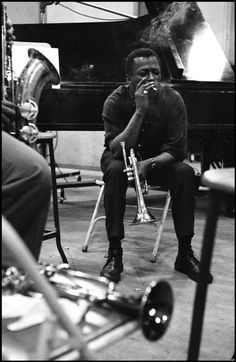 Miles Davis during a record...