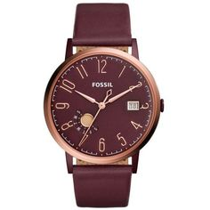 Fossil Wine Vintage Muse Three-Hand Date Wine Leather Watch - Women's ($145) ❤ liked on Polyvore featuring jewelry, watches, wine, vintage wristwatches, dial watches, fossil wrist watch, leather wrist watch and leather watches