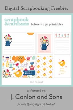 Before We Go pocket cards freebie from Scrapbook & Cards Today - J. Conlon and Sons Digital Scrapbooking Freebies, Pocket Scrapbooking, Scrapbook Cards, Project Life Layouts, Before We Go, Pocket Cards, Sons, Challenges, Printables