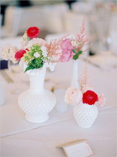 milk glass with bright florals
