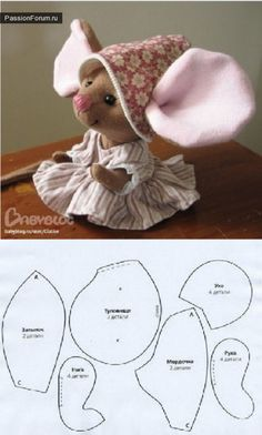 Ideas For Sewing Toys Patterns Christmas Ideas For … - Stofftiere Felt Crafts, Fabric Crafts, Sewing Crafts, Sewing Projects, Mouse Crafts, Felt Mouse, Fabric Toys, Sew Toys, Children's Toys