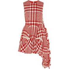Simone Rocha Faux pearl-embellished plaid bouclé-tweed mini dress (€1.835) ❤ liked on Polyvore featuring dresses, red, a line dress, a line mini dress, short a line dresses, short flared dresses and red mini dress