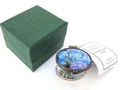 KELVIN CHEN Enamel Hinged Box Van Gogh Starry Night Small Oval EH510