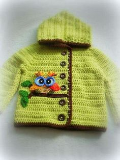 Discover thousands of images about Ravelry: Project Gallery for Crochet Springtime Friends Hoodie pattern by Anji Beane Knit Baby Dress, Crochet Baby Clothes, Crochet For Boys, Knitting For Kids, Chunky Knitting Patterns, Crochet Patterns, Pull Bebe, Baby Sweaters, Crochet Projects