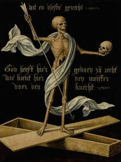 Netherlandish school, century, A skeleton standing on an open coffin holding a skull and an arrow, as an Allegory of Earthly Vanity and Divine Salvation, Memento Mori, Danse Macabre, Macabre Art, Vanitas Paintings, Dance Of Death, Skeleton Art, Arte Horror, Exhibition, Dark Art