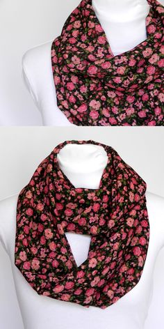 Pink Floral Infinity Scarf/ medium weight/ by Zaleon