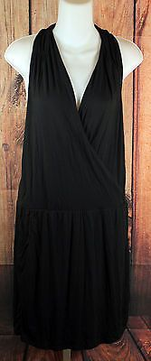 Athleta Black Sleeveless Faux Wrap Slinky Shift Dress Womens Size Medium