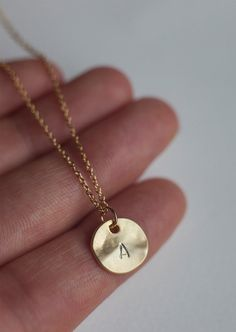 Initial Circle Necklace Personalized gold disc necklace, customized letter necklace, simple necklace