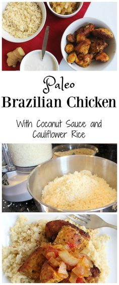 Brazilian Chicken with Coconut Sauce over Cauliflower Rice Brazilian Chicken with Coconut Sauce over Cauliflower Rice - Health, Home, & Happiness Healthy Living Recipes, Paleo Recipes, Real Food Recipes, Cooking Recipes, Superfood Recipes, Paleo Meals, Healthy Meals, Chicken Flavors, Chicken Recipes