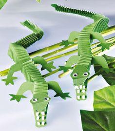 krokodillen van muizentrappetjes (alleen foto), knutselen, kinderen, basisschool, craft, children, elementary school, paper folder crocodile
