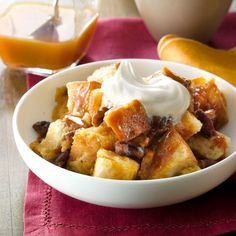 Butterscotch-Pecan Bread Pudding Recipe -Bread pudding fans just might hoard this yummy butterscotch version. Toppings like whipped cream and a butterscotch drizzle make this dessert absolutely irresistible. —Lisa Varner, El Paso, Texas