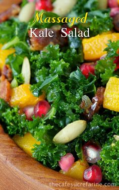 Massaged Kale Salad with Roasted Butternut Squash, Pomegranate, Pepitas & Warm Apple Cider-Bacon Dressing