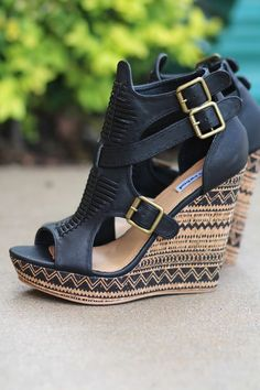 09ce4f701bf4 NanaMacs Boutique - Light Like A Feather Aztec Printed Wedges (Black)